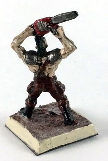 Post Apocalyptic Warrior - 32mm Miniature with Chainsaw