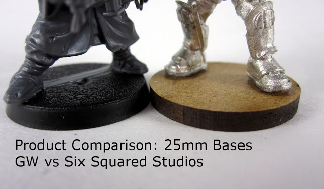 25mm base size comparison - Plastic GW bases to MDF Six Squared Studios Bases