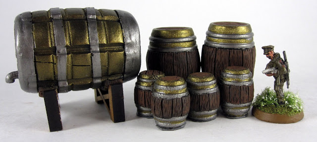 Warlord Games figures size comparison to barrels