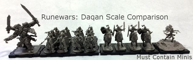 Runewars Daqan miniatures scale comparison - Human faction