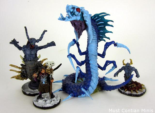 Reaper Miniatures Bones Frost Wyrm with Frostgrave Figures