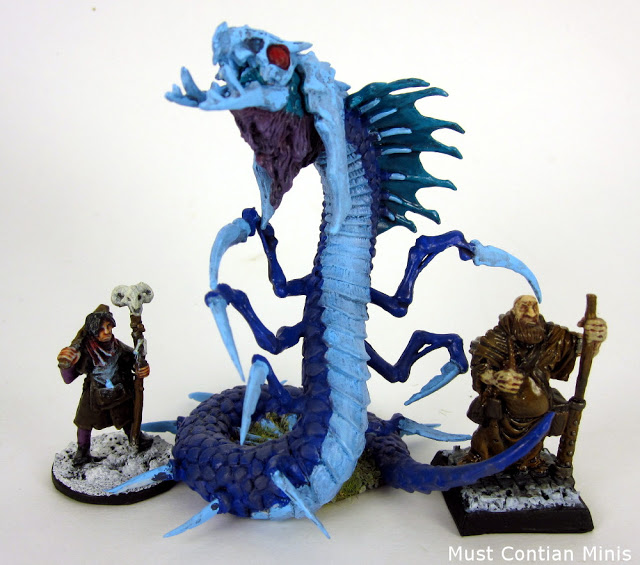 Reaper Miniatures Bones Frost Wyrm with 28mm and 32mm figures - Scale Comparison