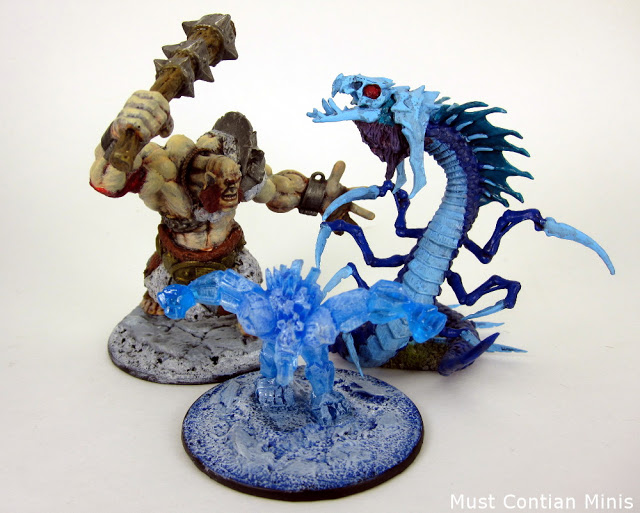 Reaper Miniatures Bones Frost Wyrm with other large Reaper Miniatures
