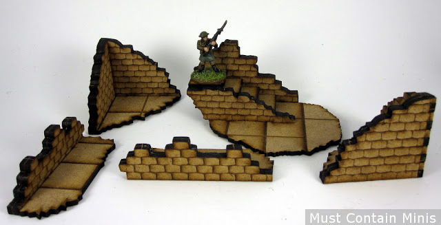 A Proxy 28mm Bolt Action Figure with MDF Terrain for Scale