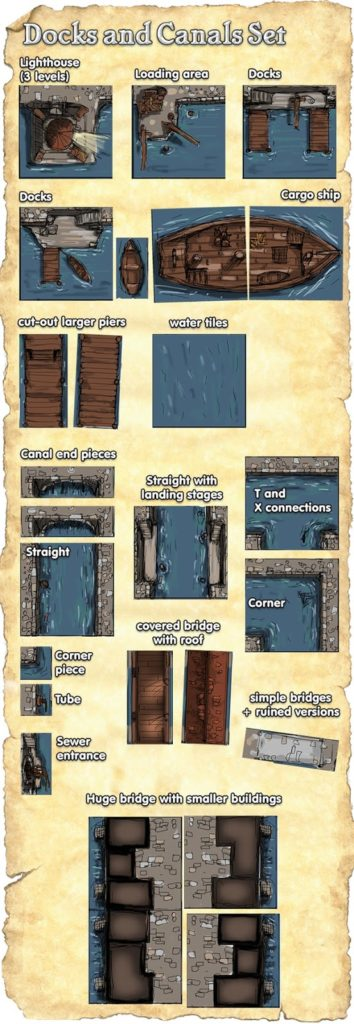 City of the Black Scrolls Docks and Canals Tiles (Concept Art)