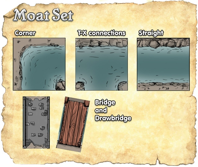 Cities of the Black Scrolls Moat Tiles (Concept Tiles)