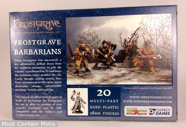 Back of the Frostgrave Barbarians Miniatures Box