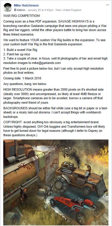 Gaslands War Rig Competition (Original Post from Facebook)