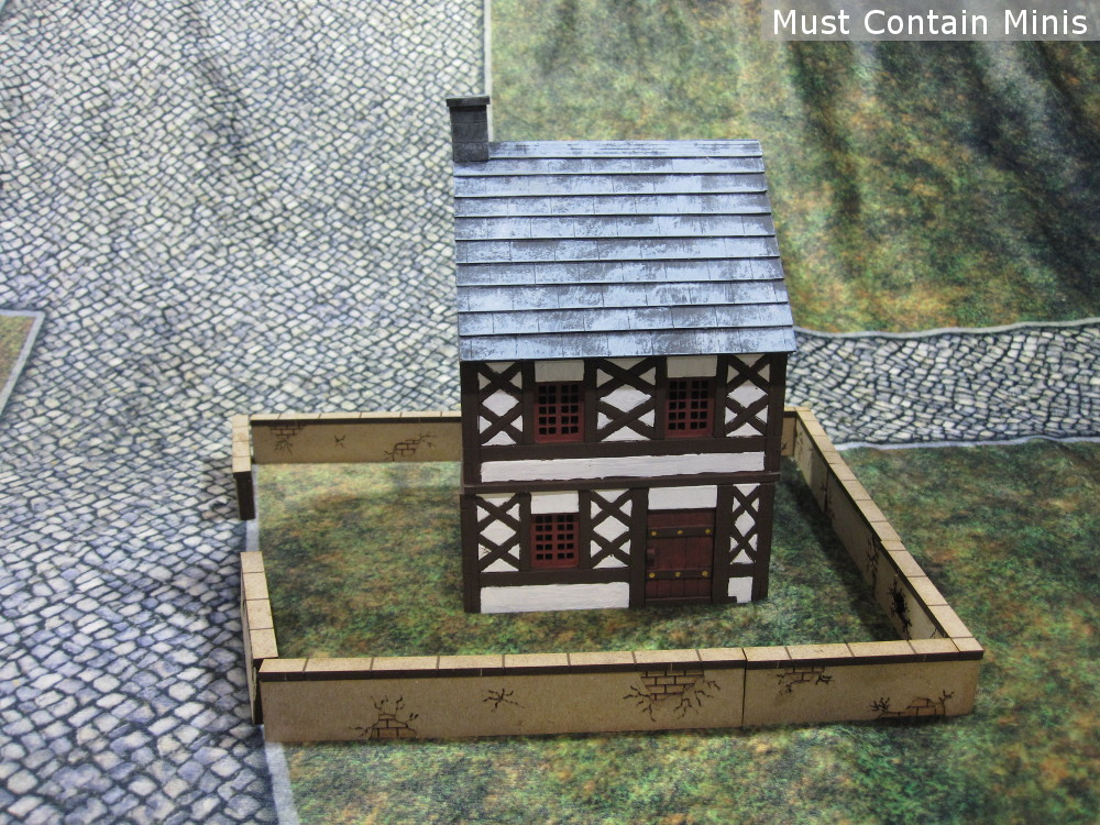 The City Walls with a 15th Century XOLK Building. 28mm MDF Gaming Terrain.