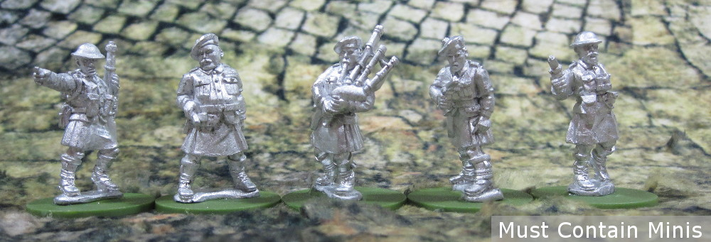 British 28mm Highland Infantry Command in Kilts for Bolt Action and other WW2 Games