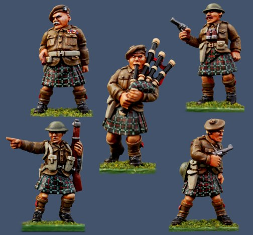 Highland Infantry Command as painted by Pulp Figures