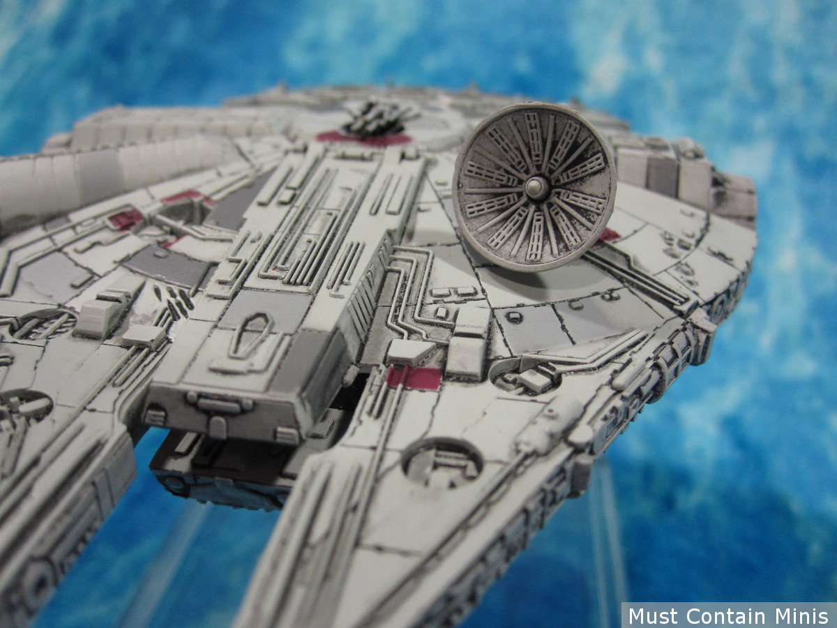 Satellite dish on the Millennium Falcon X-Wing Miniature by Fantasy Flight Games