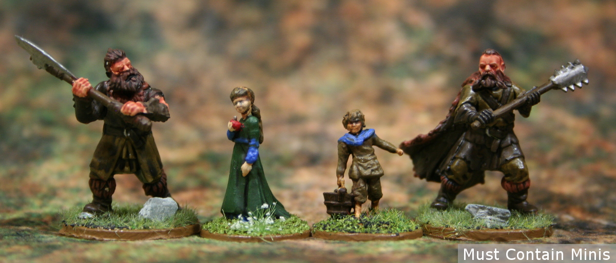 Scale comparison image between 28mm Frostgrave miniatures by North Star Military Figures and these Pathfinder Deep Cuts 28mm Children by WizKids - unpainted