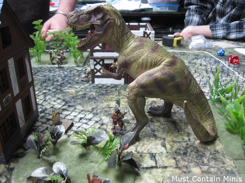 Spanish Pirate musketeer vs a dinosaur Frostgrave Ghost Archipelago meets Blood and Plunder