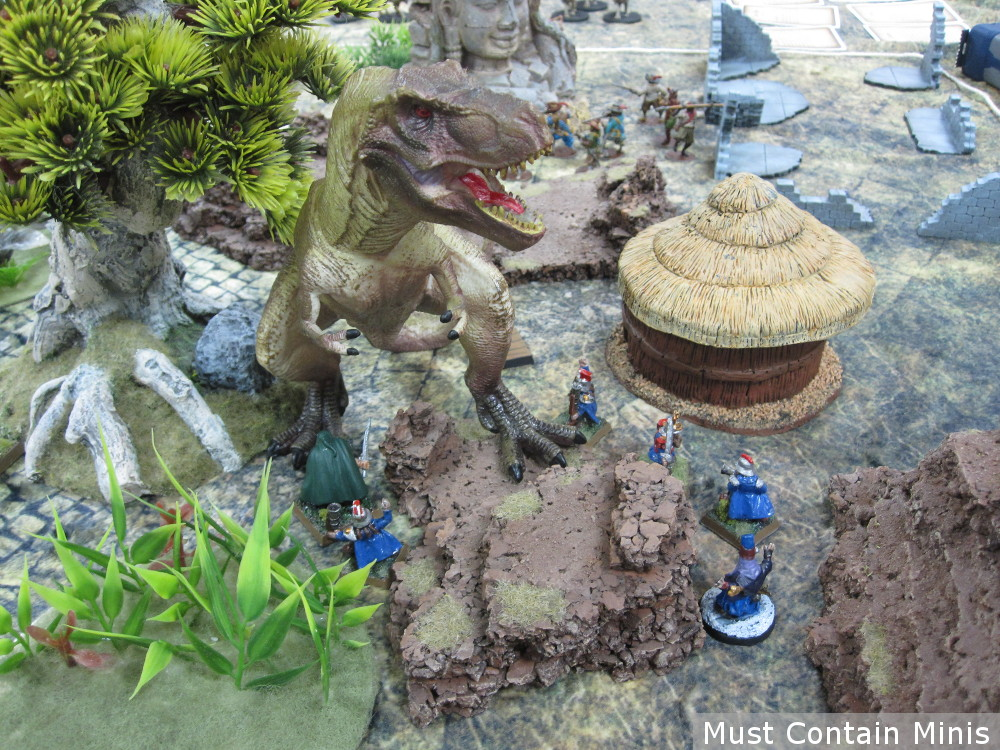 Dwarfs find a Dinosaur in Frostgrave Ghost Archipelago Demo Game