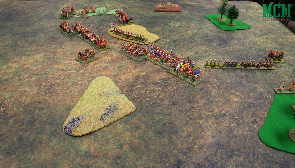 De Bellis Antiquitatis Battle - Full table showing terrain and forces in battle - DBA