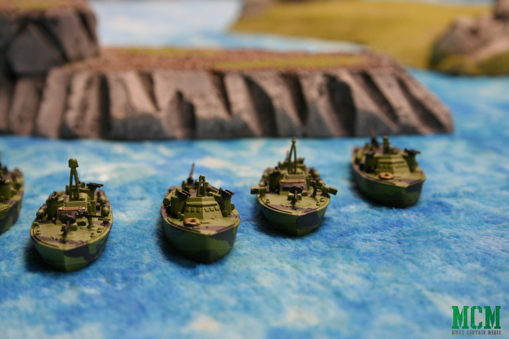 US Navy Cruel Seas Miniatures Painted and showcased on a Cigar Box Battle Mat