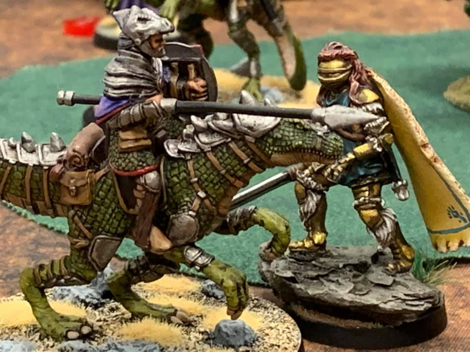 armoured Dinosaur riding 32mm knights - DGS Games Miniatures