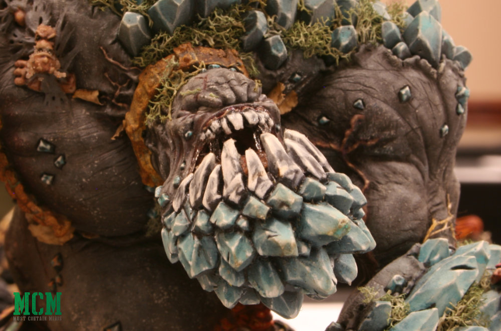 A close look at a painted Elemental King by Privateer Press