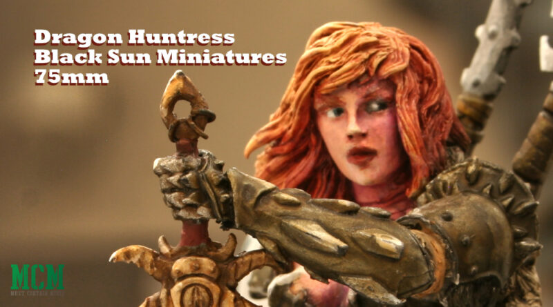 Dragon Huntress 75mm Miniature by Black Sun Miniatures