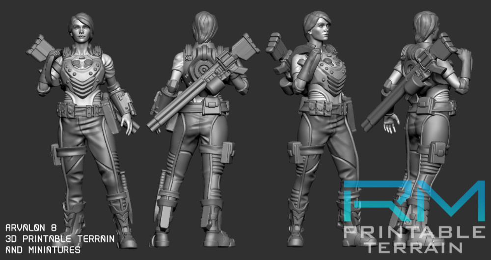 Arvalon 8 Kickstarter Preview Miniature. 28mm to 32mm miniature that could be resized to other scales too.