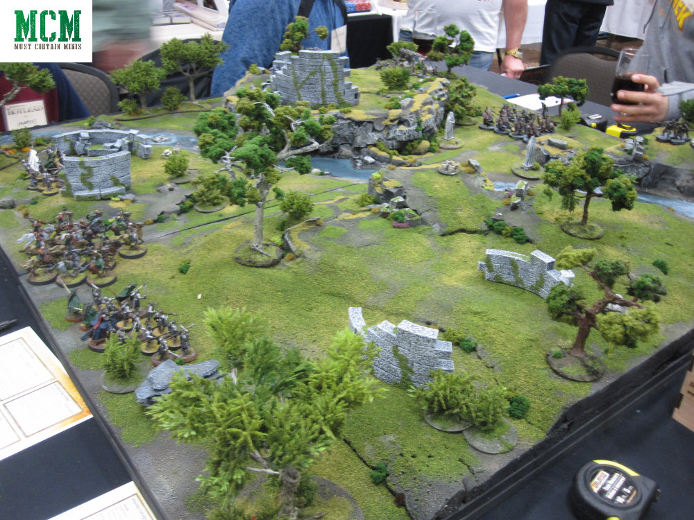 Blurry photo of the Lord of the Rings Demo table at Hotlead 2019's Gaming Convention.