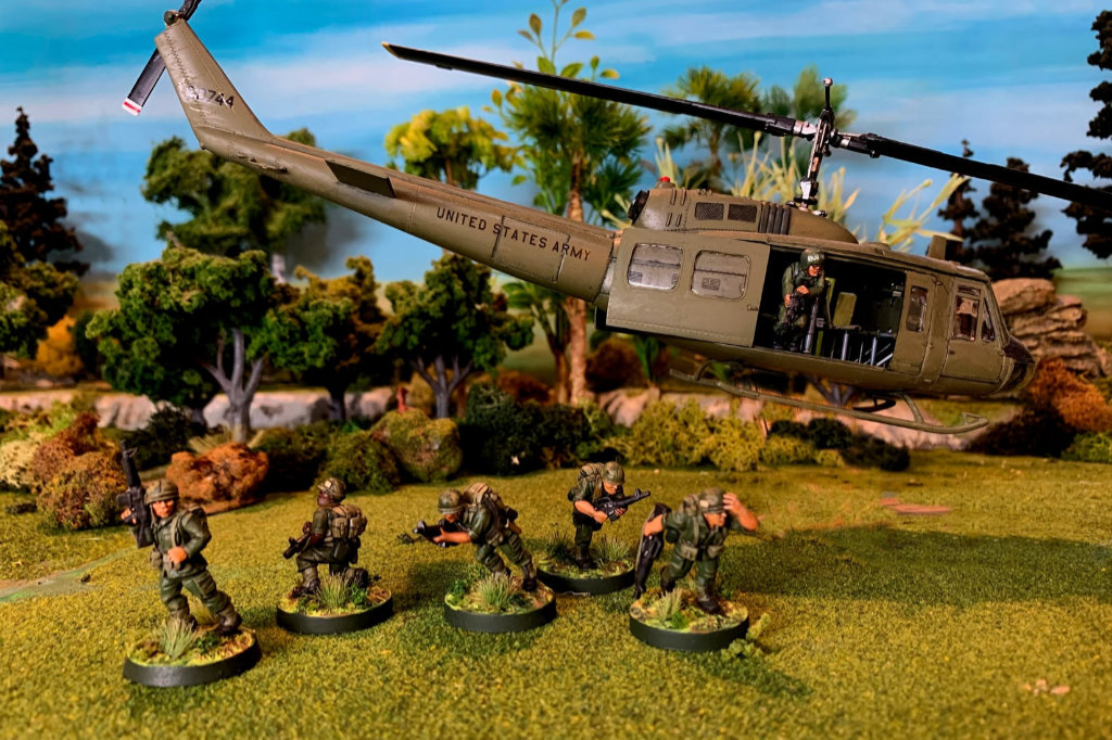 28mm Vietnam War American Miniatures with a Helicopter