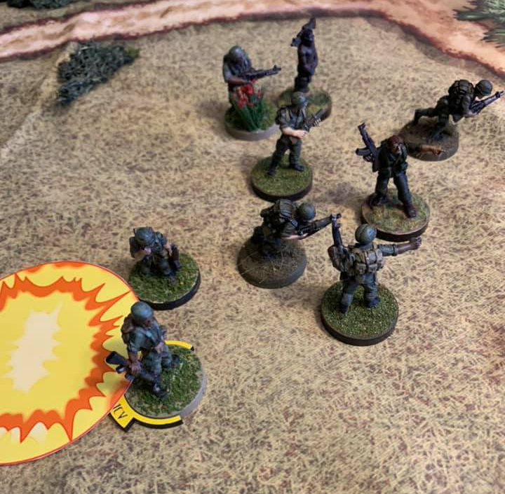 A play test image of Black Sun Miniatures Game by Crucible Crush.