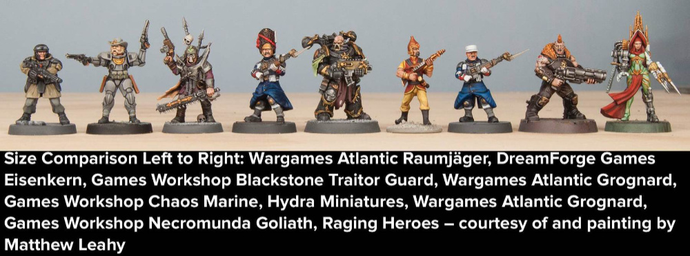 Sci-Fi miniatures scale comparison - Wargames Atlantic to other companies - Death Fields