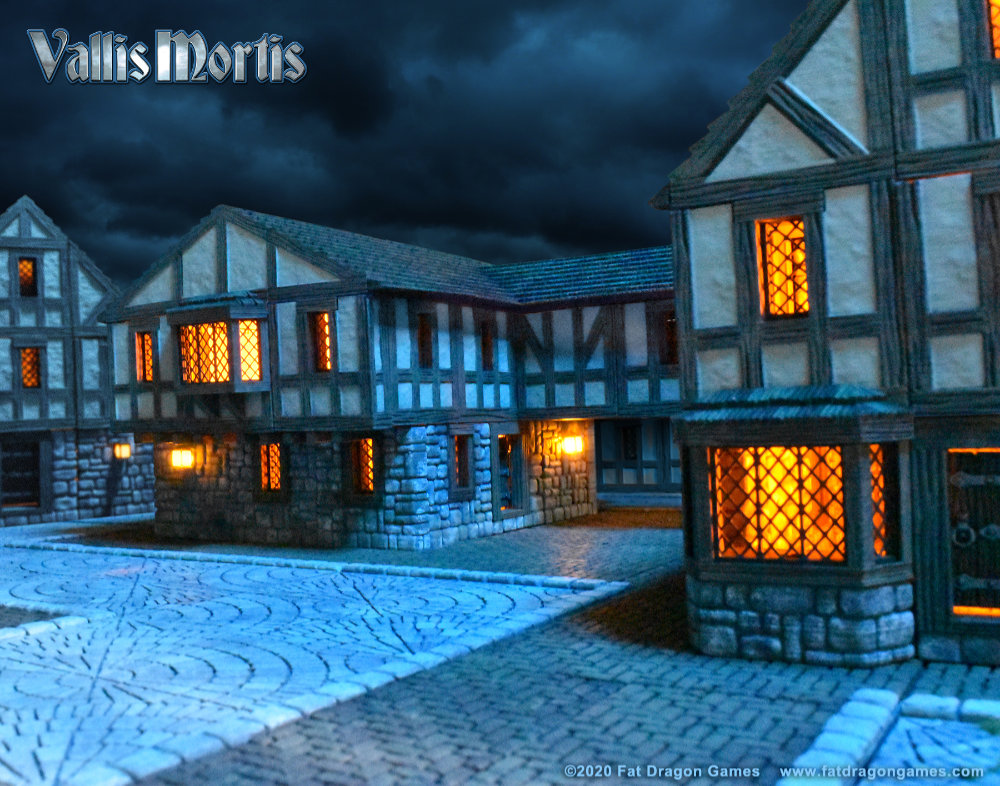 Vallis Mortis town - 3D Printed models with LEDs by Fat Dragon Games.