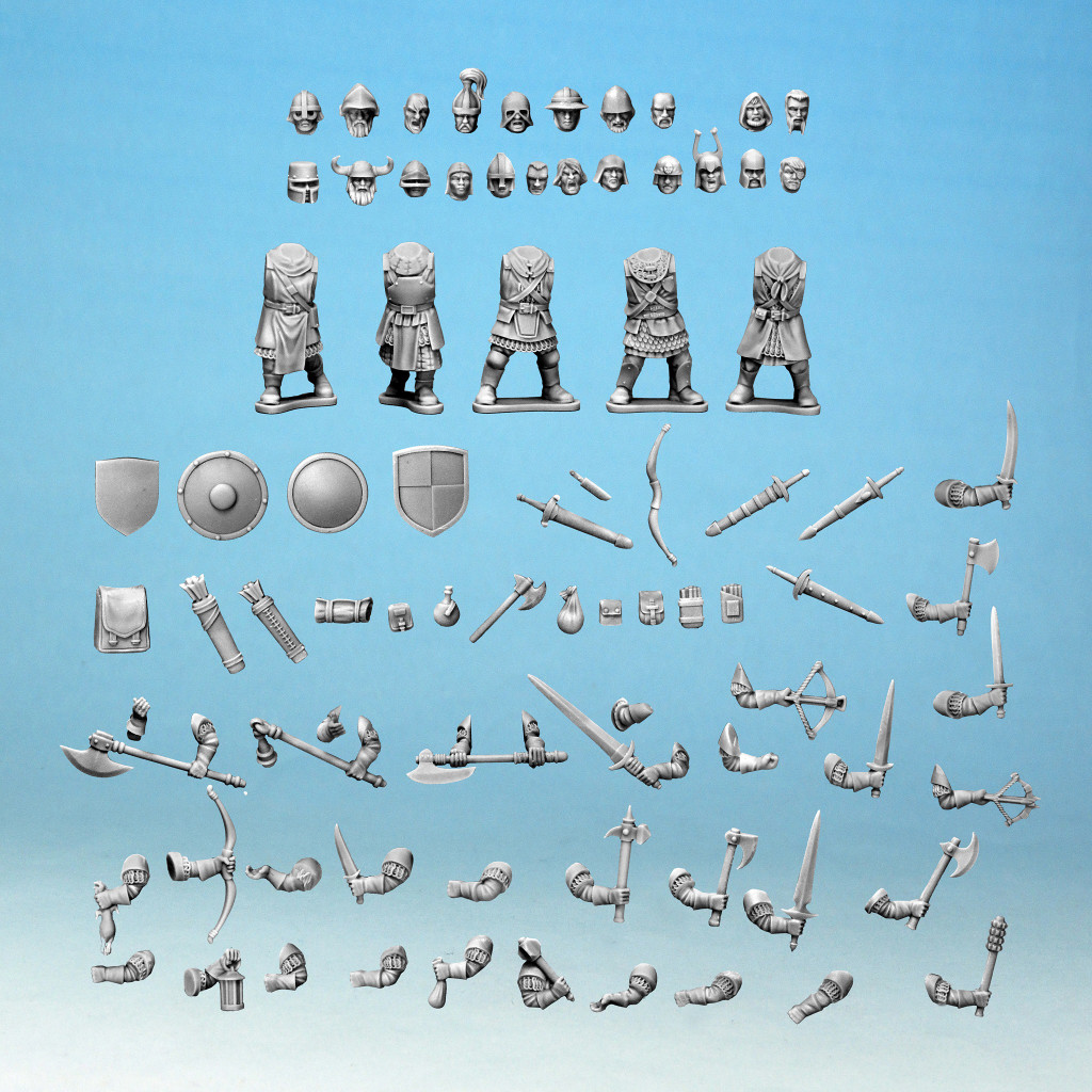 A look at the items on the Frostgrave Knights sprue. There are a ton of pieces here for 28mm gaming.