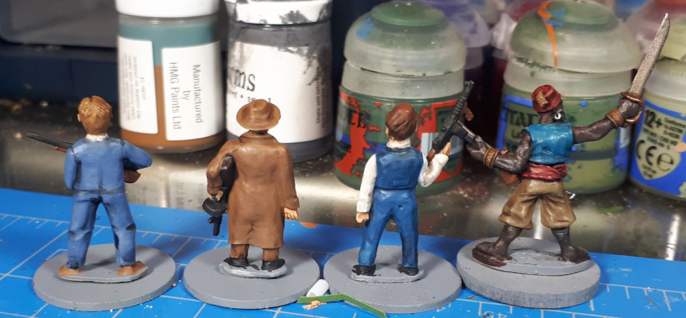 The backs of the models.
