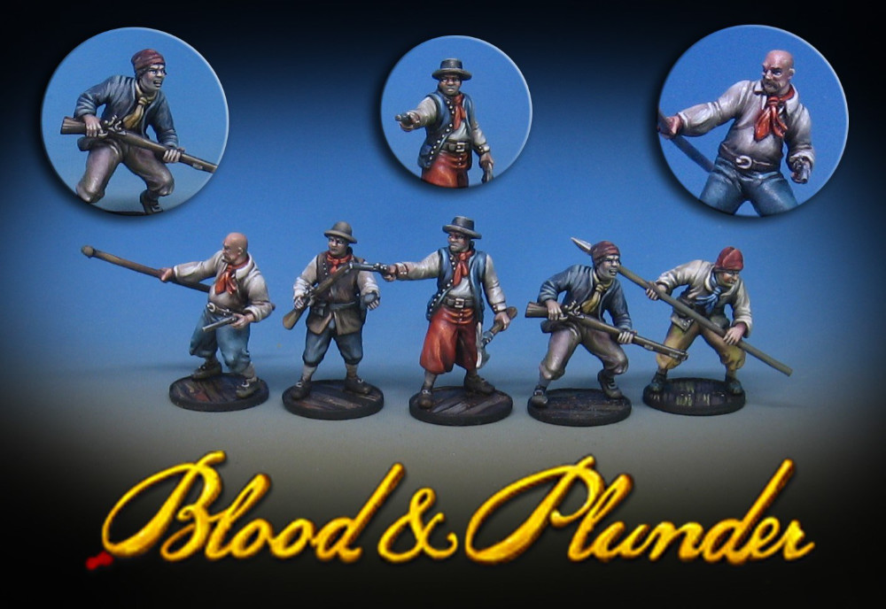 Raise the Black Blood and Plunder preview miniatures - Hard Plastic 28mm pirates.