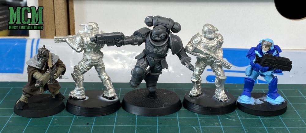 Legions of Steel Board Game Miniature scale comparison.