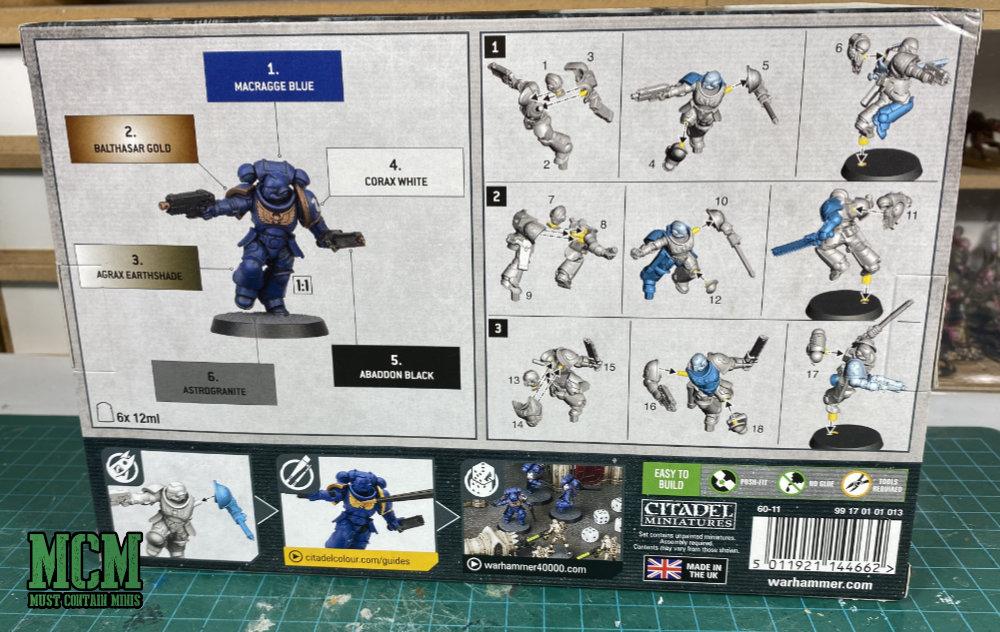 Space Marine Assault Intercessors + Paint Set Box Art - Back of Box