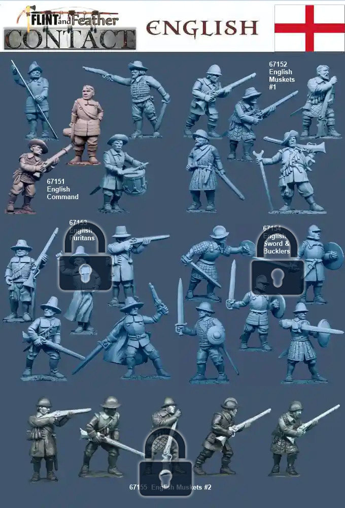 Flint and Feather: Contact 28mm 17th century miniatures - English