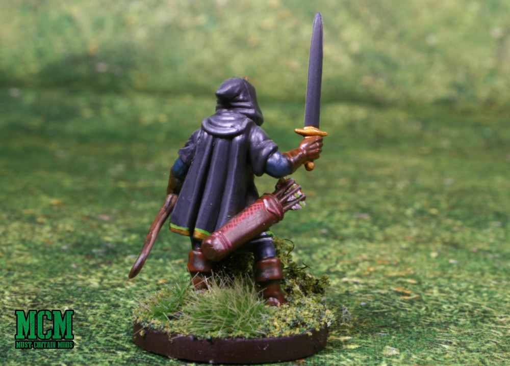 Back of the model - 28mm ranger with bow and sword